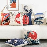 Nhật bản Phong Cách Ukiyo-e In Cotton Linen Cushion Covers 45*45 cm Vintage Phong Cách Sofa Ném Gối Trường Hợp giường/Chủ Tịch Nghi Bìa