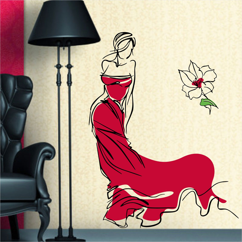 2016 Real Fashion Beauty Wall Sticker Clothes Dress