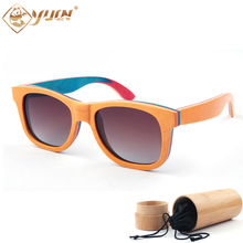 Skateboard wooden sunglasses women brand designer glasses fashion men polarized sun glasses wood oculos de sol W3008