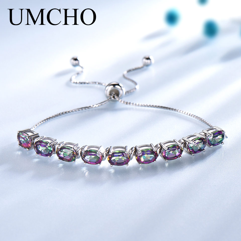 UMCHO 9ct Mystic Topaz Pure 925 Sterling Silver Chain Bracelets For Women Fine Jewelry Adjustable Bracelet Mothers 39 Day Gift New in Bracelets amp Bangles from Jewelry amp Accessories