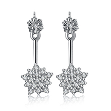 2015 New arrival free shipping hot sell shiny star cubic zirconia 925 sterling silver ladies`stud earrings jewelry gift