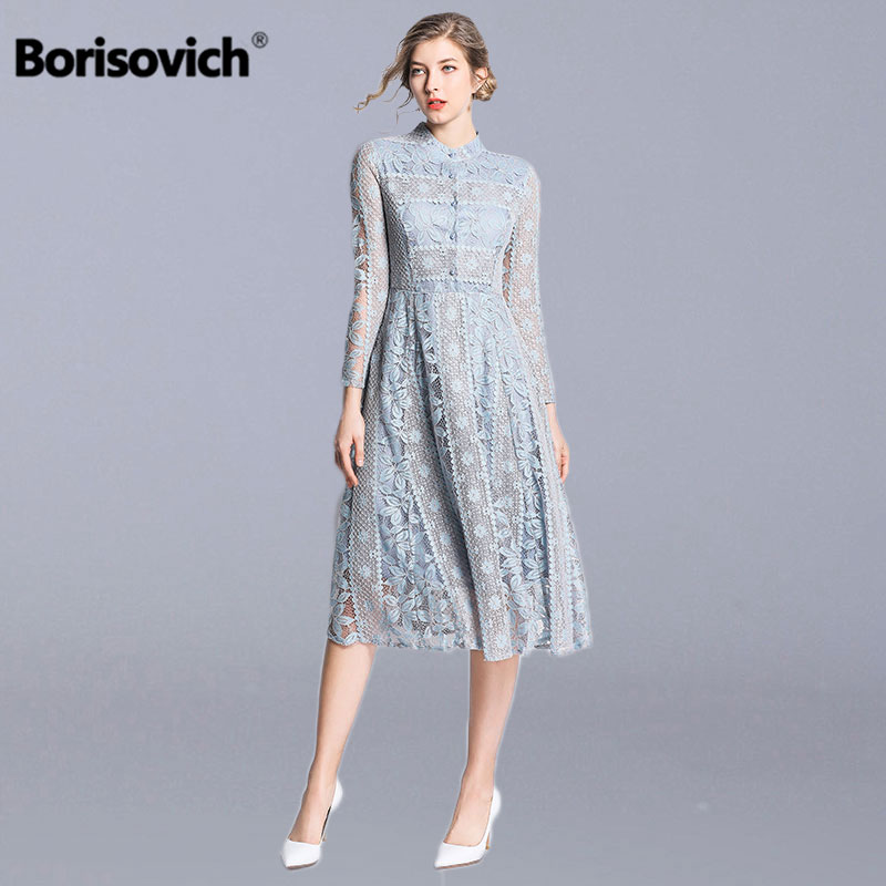 Borisovich Female A line Long Dress New Brand 2019 Spring Fashion Luxury Hollow Out Lace Elegant