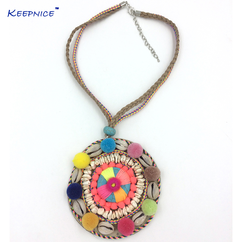 New Boho Handmade Chorker Necklace Dream Catcher Pompoms Tassel Necklace Rope Chain Multi Layer Pendants Necklaces