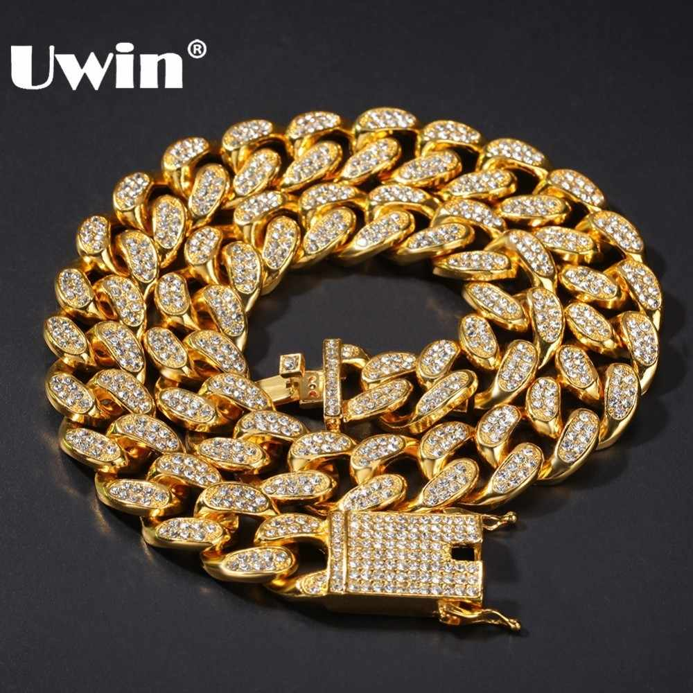 Uwin โลหะผสม AAA Iced Out Rhinestones สร้อยคอ 20 มม.หนัก Miami Cuban Link Chain Hiphop Gold สีแฟชั่นเครื่องประดับสำหรับชาย