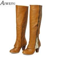 AIWEIYi Knee High Women Boots Rubber Shoes Female Square High Heels Brand Designer Knight Boots Tassel