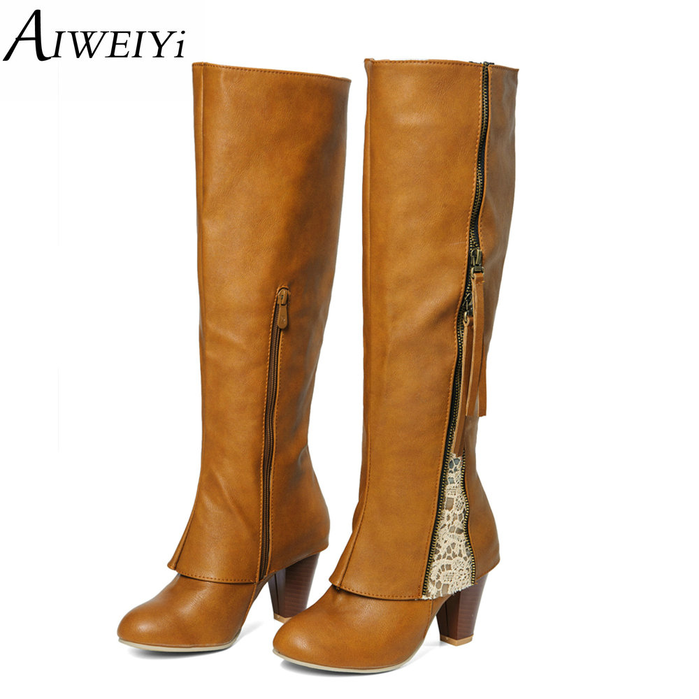 AIWEIYi Knee High Women Boots Rubber Shoes Female Square High Heels Brand Designer Knight Boots Tassel Lace Ladies Riding Boots