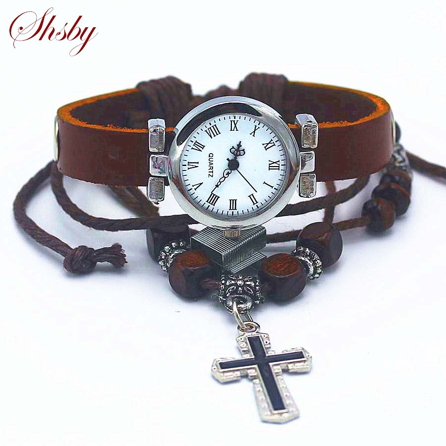 Shsby New Unisex ROMA Vintage Watch Leather Strap Bracelet Watches Religious Cross Women Dress Watches Silver Female Wristwatch