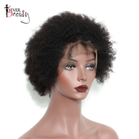 Ever Beauty Afro Kinky Curly Short Bob Lace Front Human Hair Wigs For Black Women Brazilian Non-remy Hair 6inch Natural Color