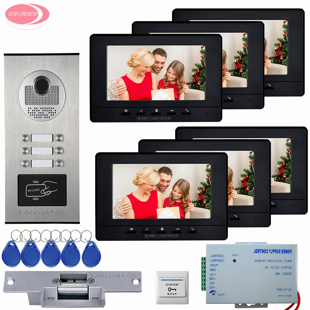 7inch LCD Screen Video Intercom Apartment Door Phone System 6 White/Black Monitors RFID Access Door Camera +Electric Strike Lock 10 pieces lot 8mm 64mm humidifiers filters can be cut cotton swab for air humidifier