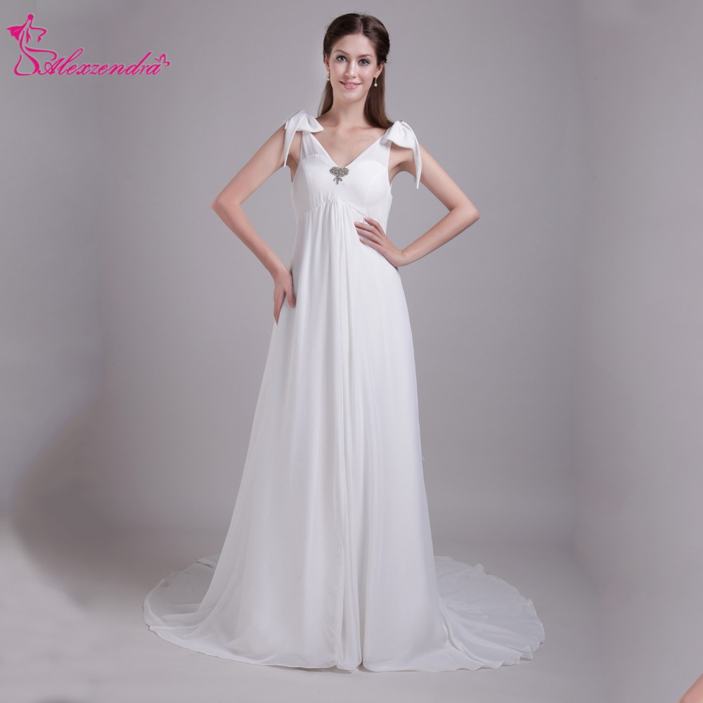 Alexzendra White Double V Neck Chiffon Beach Pregnant Wedding Dress Vestido De Noiva Simple Wedding Bridal Gown Plus Size