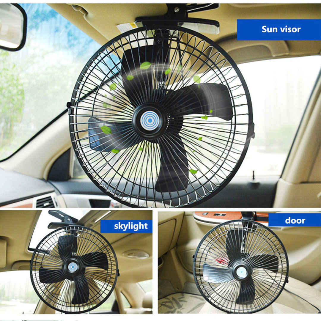 12V Dashboard Oscillating Vehicle Car Van Truck Home Clip-On Fan 2 Speed Airflow