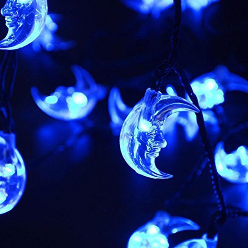 6.35m 30 LED Moon Solar Lights Waterproof Fairy Light for Christmas Home Wedding Decoration with Solar Panel (Blue Light)