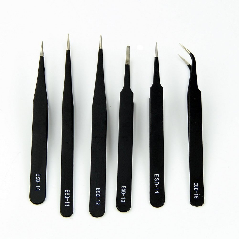 6pcs Stainless Steel Tweezer Set Tweezers With Non Magnetic Tips For Electronics Repair, Soldering, Crafting And Jewelry