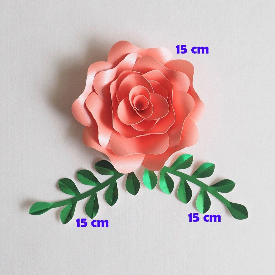 Artificial Flowers 15CM + Leaves 15CM Fleurs Artificielles Backdrop DIY Giant Paper Flowers Wedding Party Decor Baby Shower artificial flower