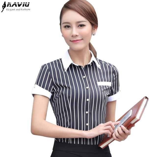 Bekend Fashion zwart wit strepen Vrouwen shirt OL formele zomer korte @RX95