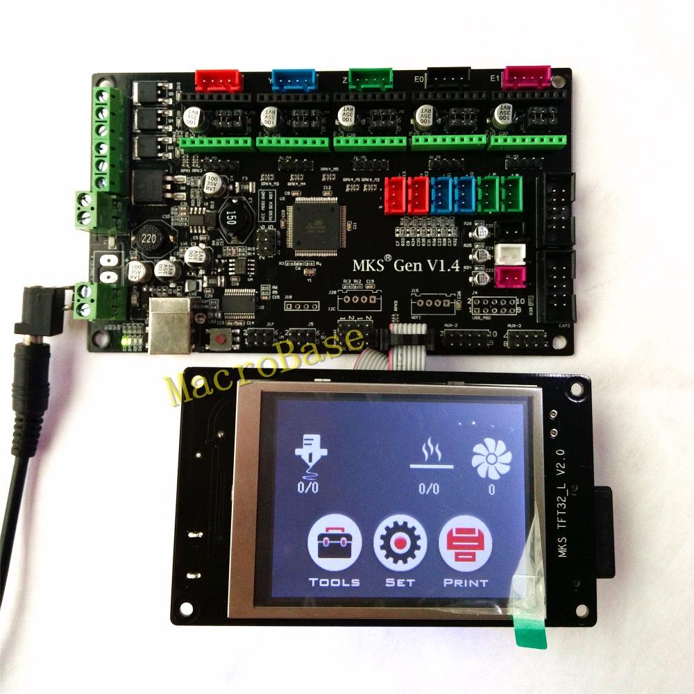 Prix pour MKS contrôleur GEN avec MKS TFT32 coloré écran tactile 3d imprimante BRICOLAGE starter kit mega2560 carte mère stm32 lcd Kossel kits