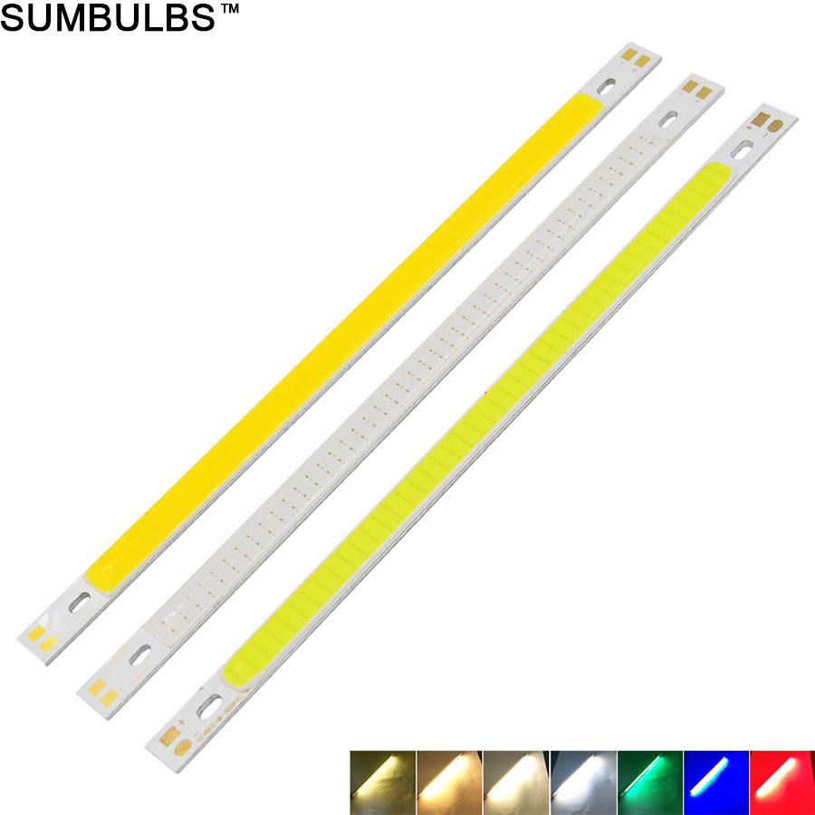 [Sumbulbs] 200x10MM 0422 10W LED Light COB Strip Lamp DC 12-14V 1000LM Green Yellow Red Blue Warm White Pure White Bar Light