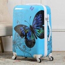 LeTrend, красивая бабочка, Скалка, багаж, Спиннер, тележка для студентов, чемодан, колеса, 20 дюймов, женская сумка для путешествий, багажник