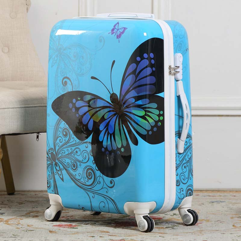 Beautiful butterfly Rolling Luggage Spinner Trolley 24 inch Students Suitcase Wheels 20 inch Women Cabin Travel Bag Trunk