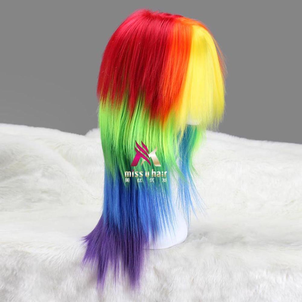 longo cabelo reto arco-íris cor halloween cosplay