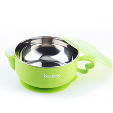 Baby Eating Bowl Children's Stainless Steel Water Injection Insulation BowlCutlery Set Baby with Lid with Spoon Suction Cup Bow(China)