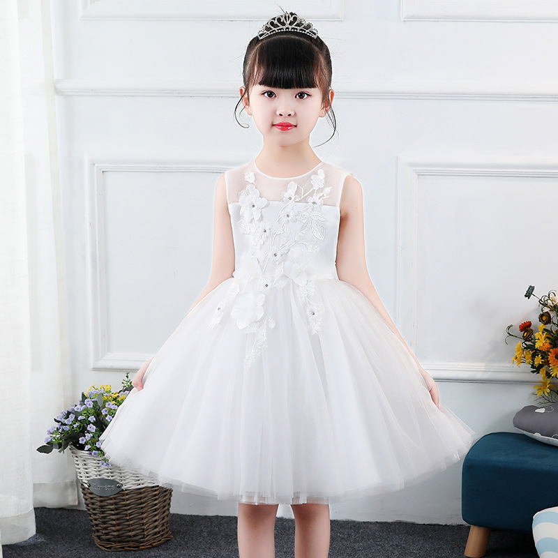 It's YiiYa Kids Flower Girl Dress For Wedding Applique Embroid Kid Party Communion Dress Tulle Ball Gown White Pink 2019 DK2801