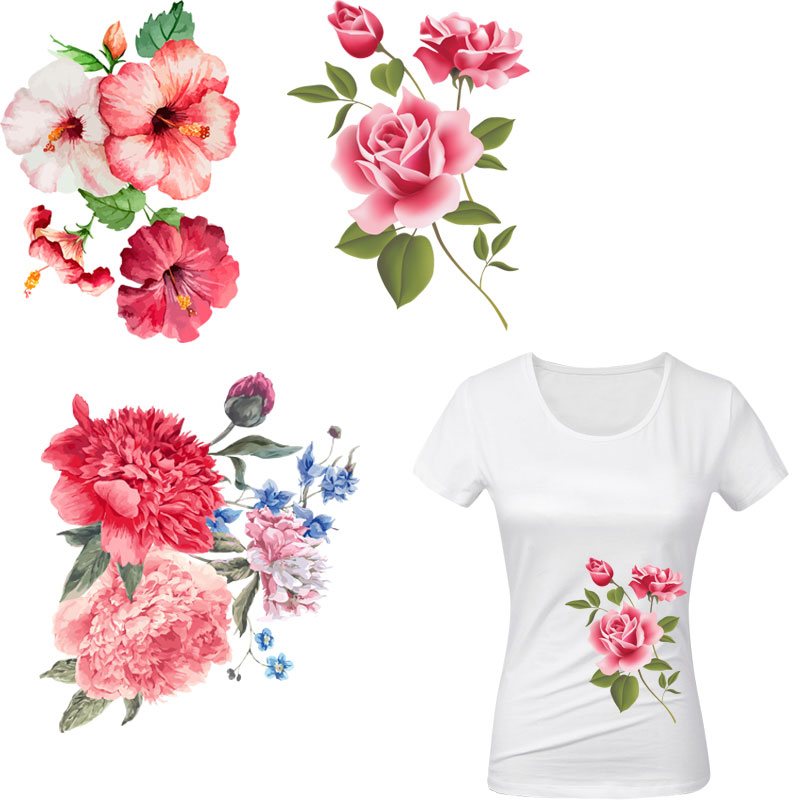 beautiful flowers applique iron patches for clothes jacket patch heat transfer t-shirt dress girls thermal sticker diy