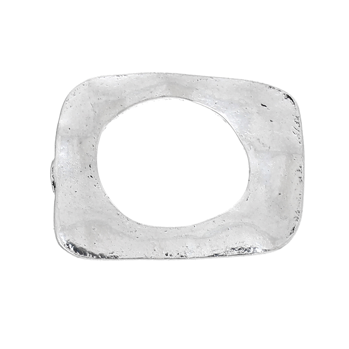 Zinc Metal Alloy Closed Soldered Jump Rings Rectangle Antique Silver 25mm(1