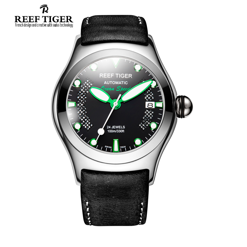 Reef Tiger/RT Luminous Sport Watches for Mens Steel Big Skeleton Dial with Date Leather Strap Self-winding Wrist Watch RGA704 2017 reef tiger rt mens designer chronograph watch with date calfskin nylon strap luminous sport watch rga3033