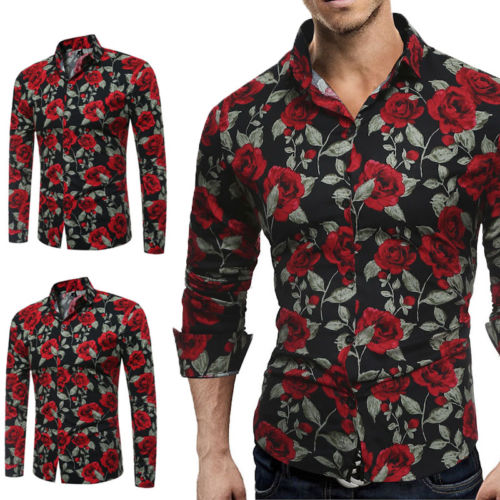 d674bf8c8203 Fashion Mens Luxury Long Sleeve Slim Shirt Casual Fitness Stylish Dress  Shirts Tops Stylish Mens Rose Floral Print Dress Shirts