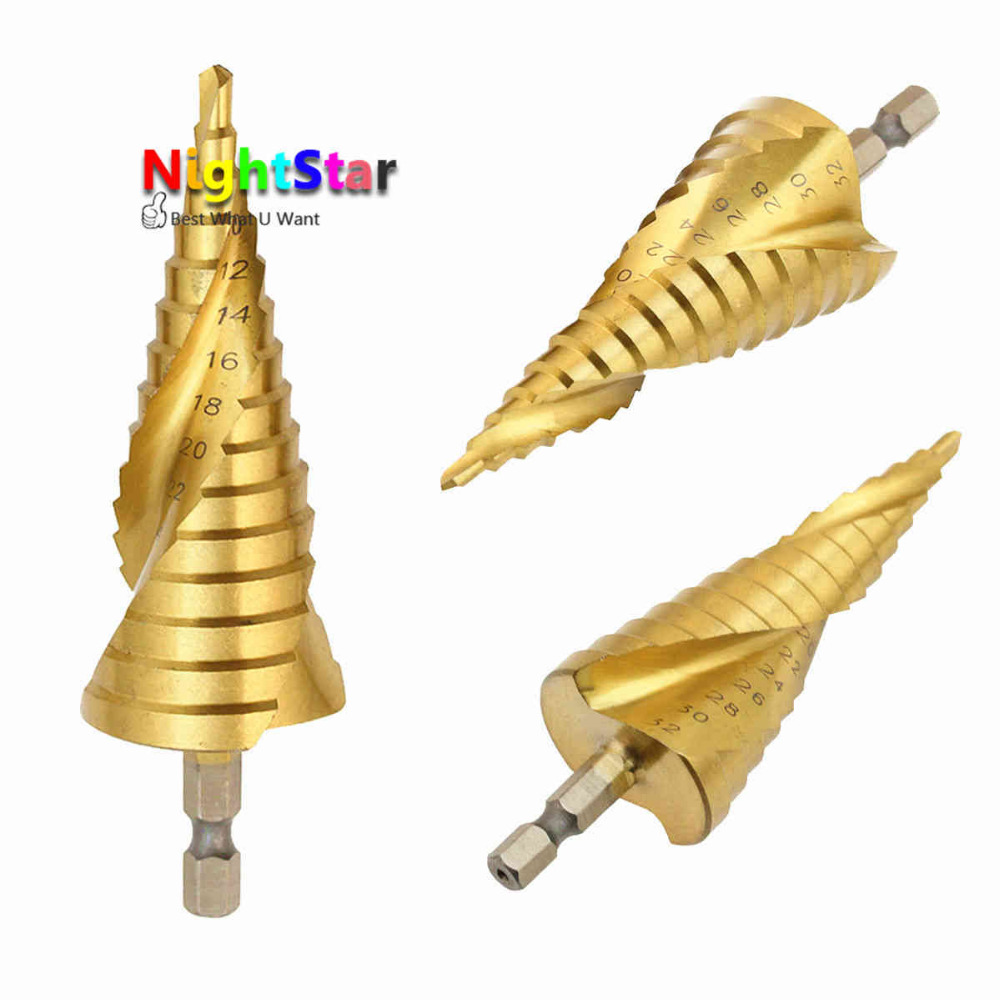 4-32mm HSS Step Cone Titanium Drill Bit Tool Hole Cutter Kits For Woodworking