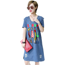 Plus Size 5xl Summer Denim Dress Fashion Female Elegant Vintage Buttons Jeans Print Denim Dress Party Short Dresses Blue Vestido цена