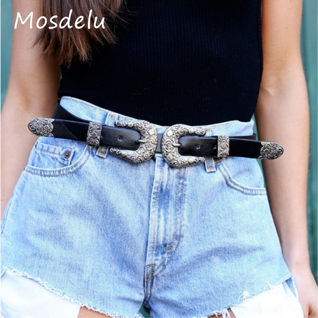 1063fe6eda102 Kendall Coachella Belts For Women Silver Gold Double Buckle Faux Leather  Belts Designer Vintage PU Leather Western Belts Jeans