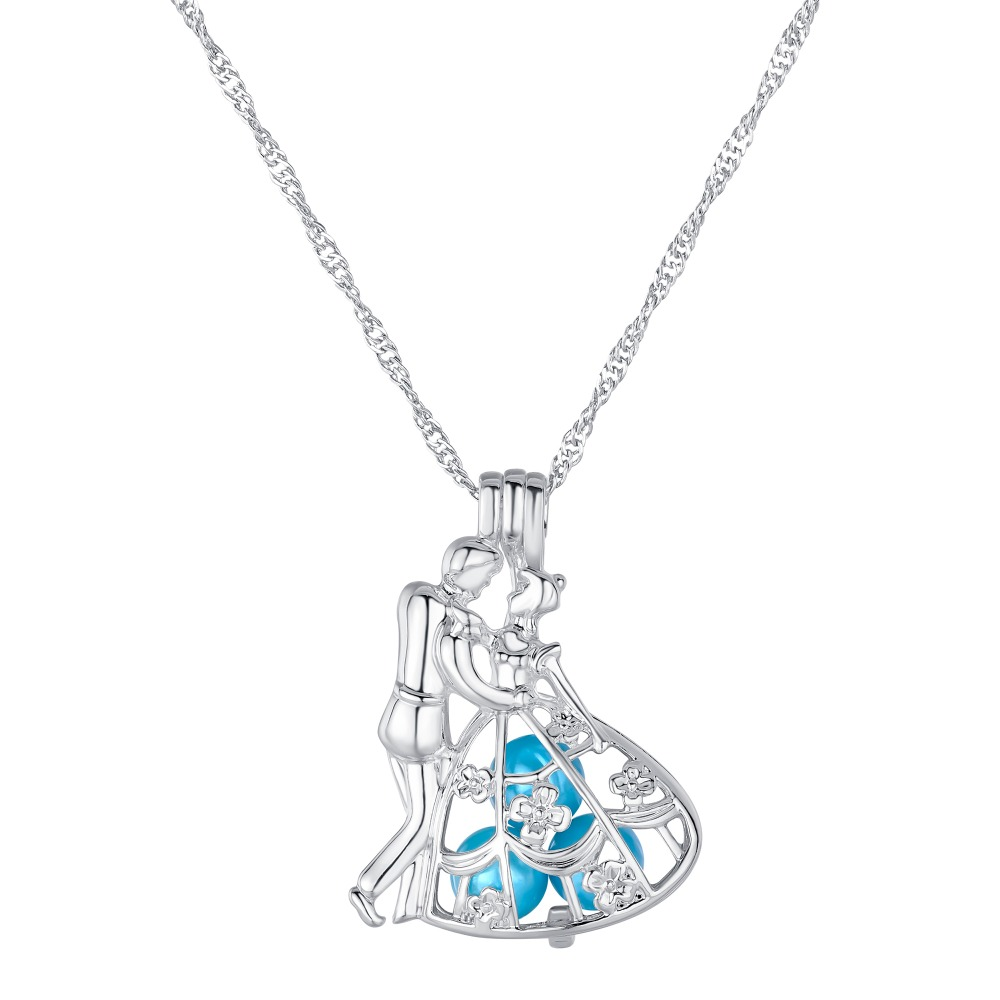 2019 Cinderella and Prince Charm Necklace Women Love Gift Pearls Cage Pendant with Chain Classic Pearl