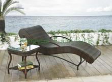 Patio rattan curved sun loungers set,Patio furniture