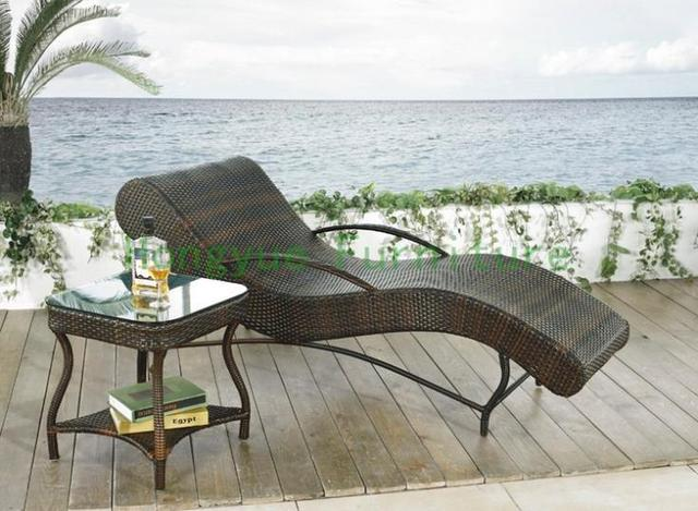 Aliexpress Com Buy Patio Rattan Curved Sun Loungers Set Patio