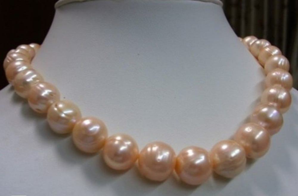 9-10MM SOUTH SEA PINK BAROQUE PEARL NECKLACE 18 GOLD CLASP>Selling jewerly free shipping