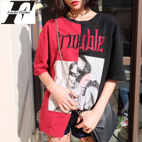 Kyliejenner T Shirts For Women Summer Harajuku Print Female T Shirt Black Red Stitching T Shirt