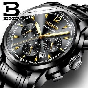 Image 5 - Binger reloj mecánico automático suizo para hombre, de marca de lujo, de zafiro, resistente al agua, masculino, B1178 17