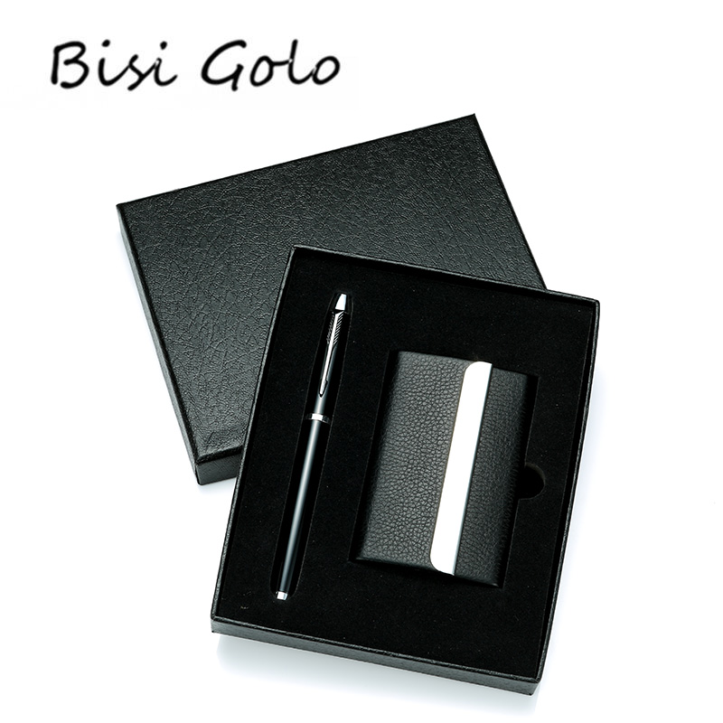 BISI GORO 2019 New Men Card holders Set Business Card Wallets Organizer Mini Wallet Gift For Husband Package High-end PenBISI GORO 2019 New Men Card holders Set Business Card Wallets Organizer Mini Wallet Gift For Husband Package High-end Pen