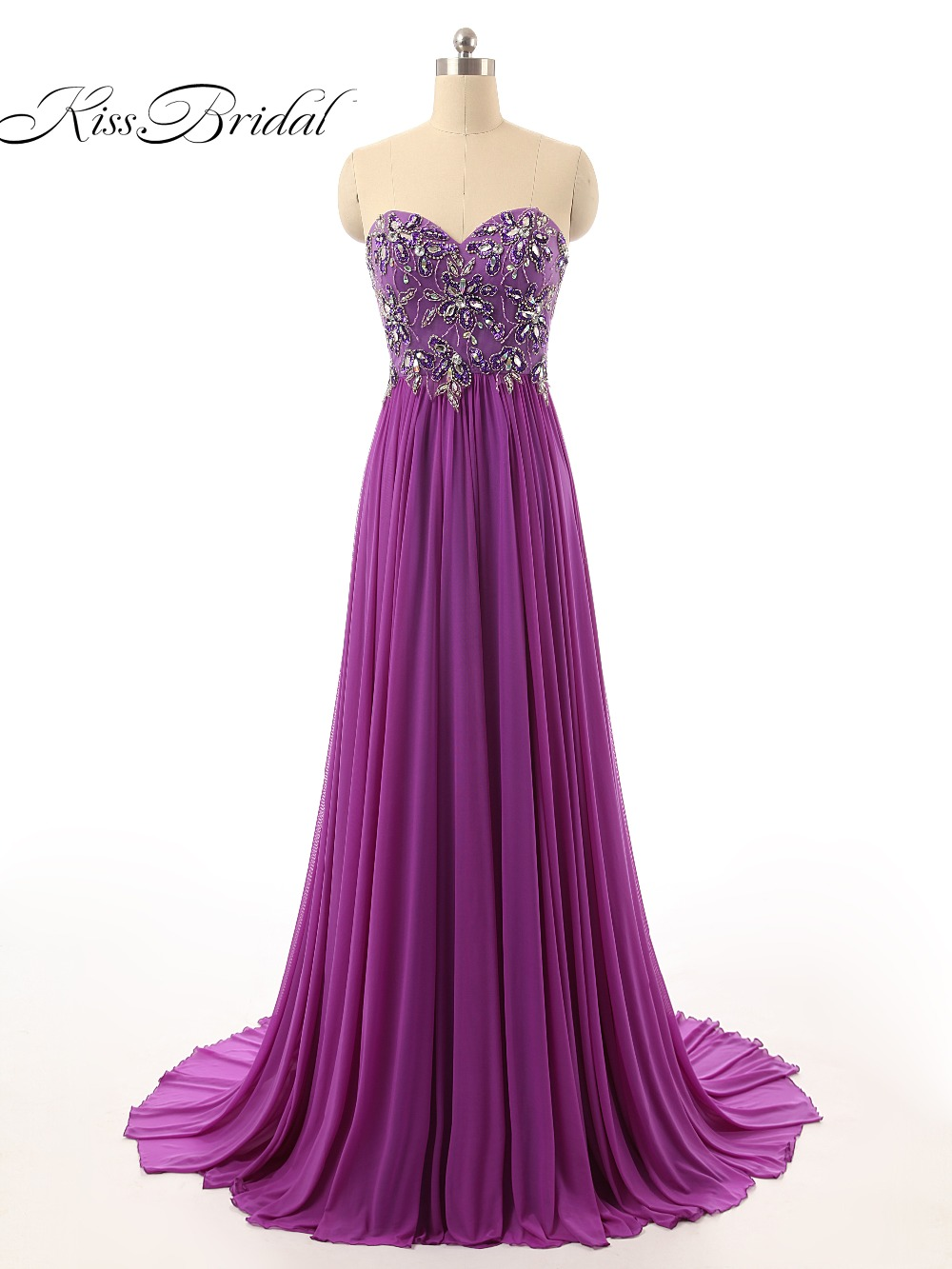 Fantastic New Style 2017   Prom     Dress   Sweetheart Neck Off the Shoulder A-Line Floor Length Crystal Chiffon Evening Gowns