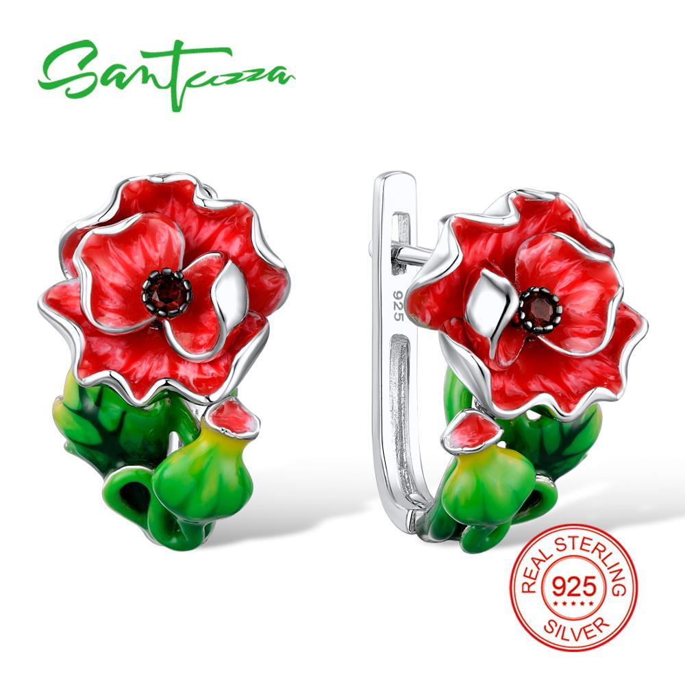 SANTUZZA Red Flower Earrings For Women Authentic 100% 925 Sterling Silver Endless Love Fashion Chic Jewelry Handmade Enamel pair of chic faux ruby and flower embellished earrings for women