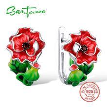 SANTUZZA Red Flower Earrings For Women Authentic 100% 925 Sterling Silver Endless Love Fashion Chic Jewelry Handmade Enamel