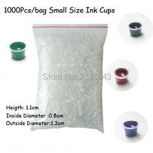 1000Pcs/bag Small Size Tattoo Ink Cups 0.8×1.1CM Mini Tattoo Pigment Holder HotSale Cosmetic Tattoo Ink Caps