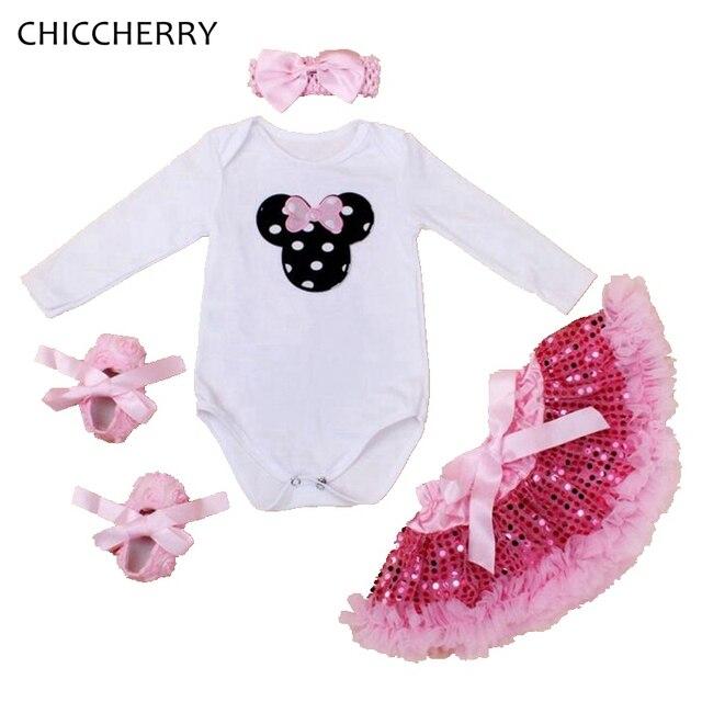 11d7342a3ad7 Pink Newborn Baby Girl Clothes Cotton Minnie Infant Bodysuit Headband Set  Sequins Lace Party Skirt Roupas