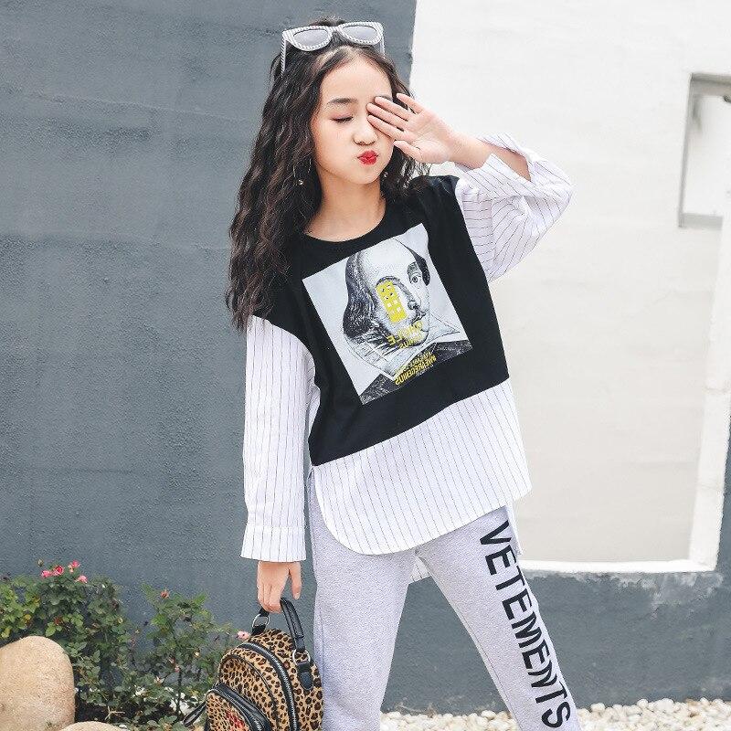 2019 T-shirts pour adolescents noir rouge sweat à manches longues coton imprimé T Shirt printemps enfants vêtements pour filles 10 12 14 ans enfant