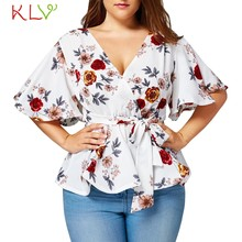 KLV Women's Blouse Plus Size Sexy V Neck Floral Print Flare Sleeve Belted Surplice Peplum Tops And Blouse blusas feminina(China)