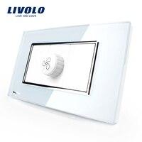 Free Shipping Livolo Luxury Black Pearl Crystal Glass 118mm 71mm US AU Standard Black Glass Panel