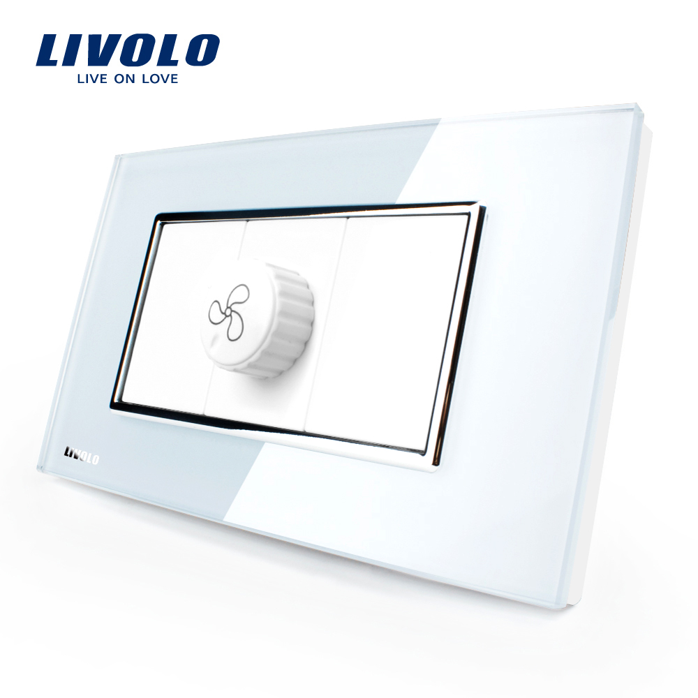 Livolo US/AU Standard verre de cristal de perle blanche de luxe, prise de vitesse (prise de ventilateur), 100 ~ 250 V, VL-C391S-81Livolo US/AU Standard verre de cristal de perle blanche de luxe, prise de vitesse (prise de ventilateur), 100 ~ 250 V, VL-C391S-81