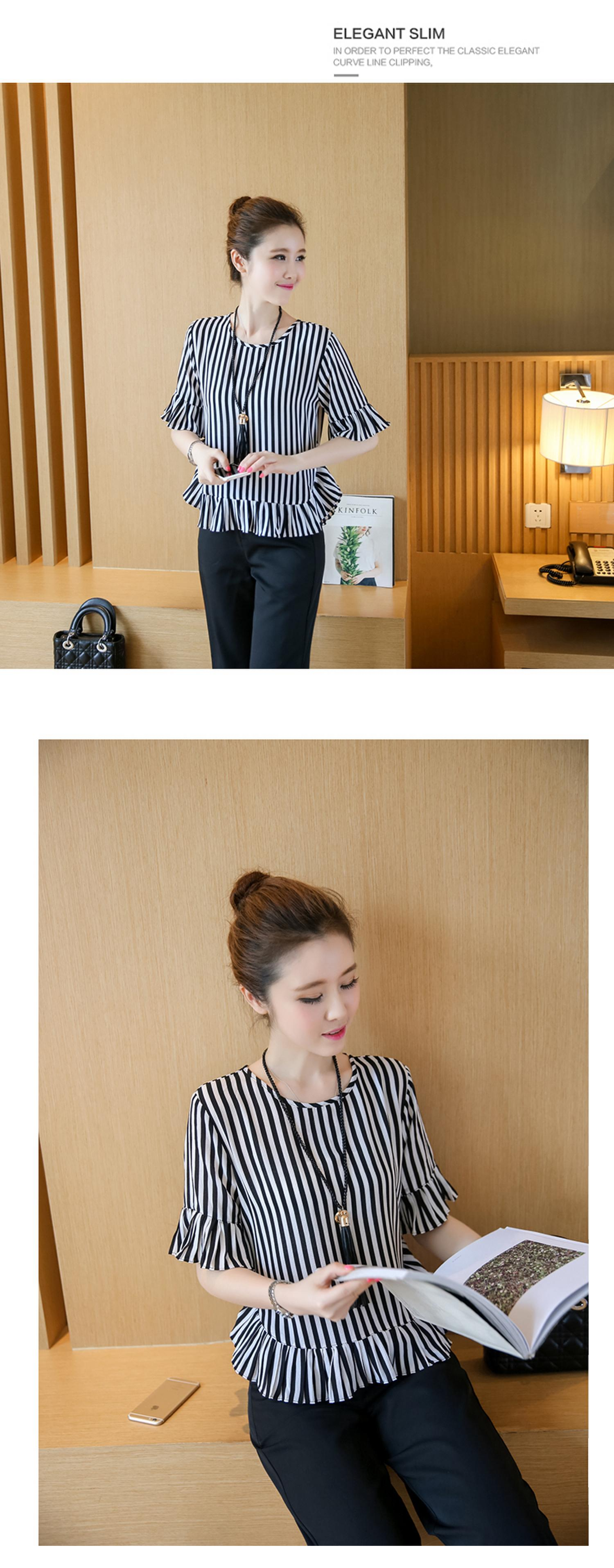 XL -4XL New women's clothing big yards wide leg korean fashion stripe pleated chiffon blouse suits summer two-pcs set loose 15